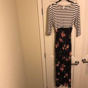 3/4 sleeve, long vanilla bay dress